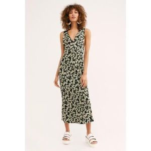 Free People Ohh La La Midi Dress Stretch Floral